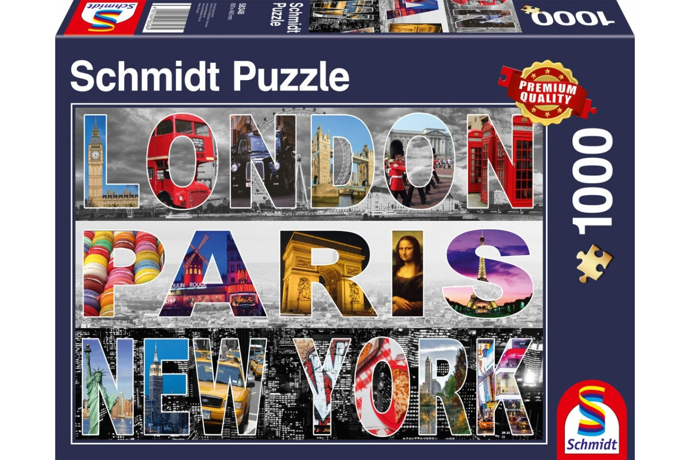 Puzzle Schmidt - Londra, Paris, New York, 1.000 piese (58348) - 1