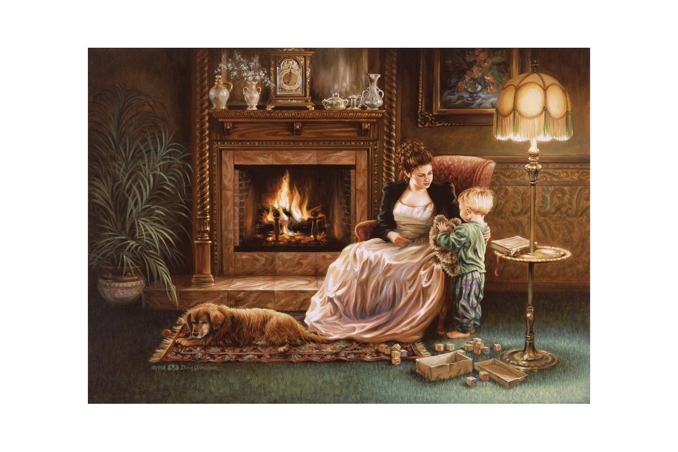 Puzzle Art Puzzle - Dona Gelsinger: Serenity by the Fireplace, 1500 piese (Art-Puzzle-4614) imagine