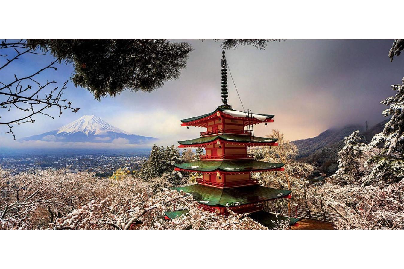 Puzzle panoramic Educa - Mount Fuji and Pagoda Chureito, Japan, 3.000 piese, include lipici (18013)