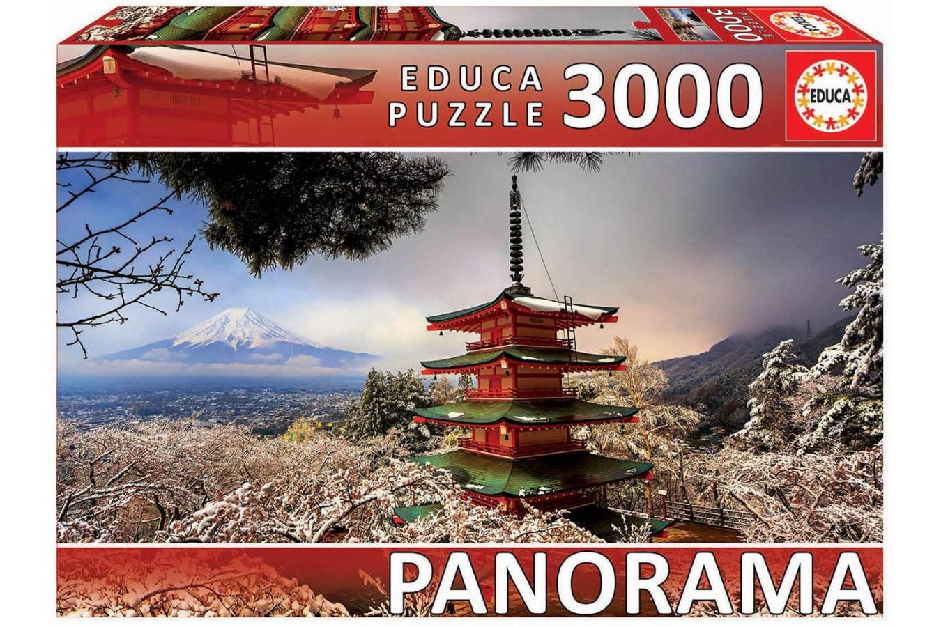 Puzzle panoramic Educa - Mount Fuji and Pagoda Chureito, Japan, 3.000 piese, include lipici (18013) - 1