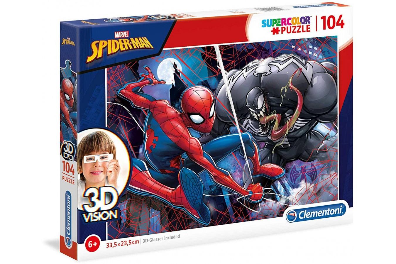 Puzzle Clementoni - Spider-Man, 104 piese, 3D Vision (20148) imagine