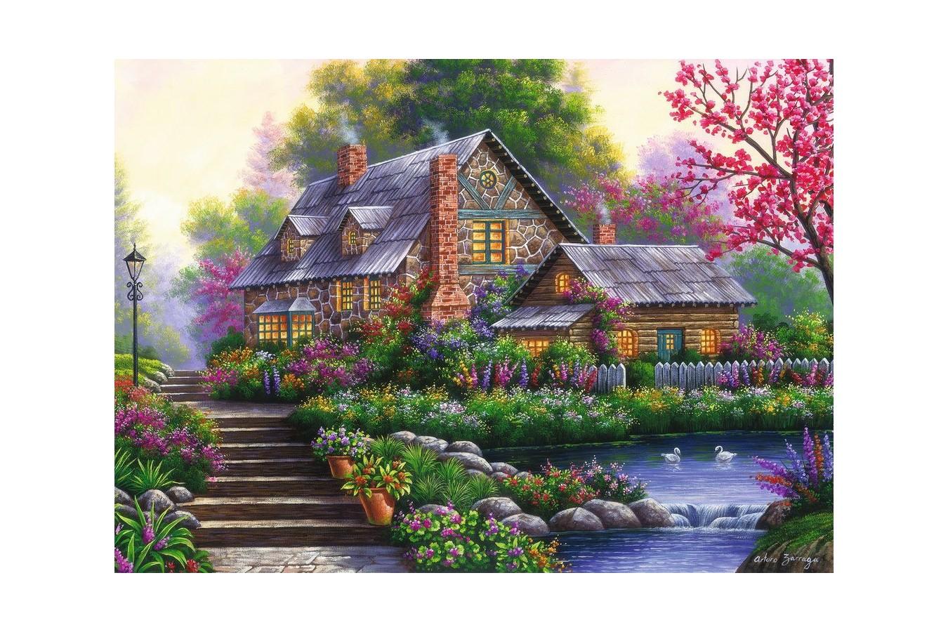 Puzzle Ravensburger - Romantic Cottage, 1.000 piese (15184)