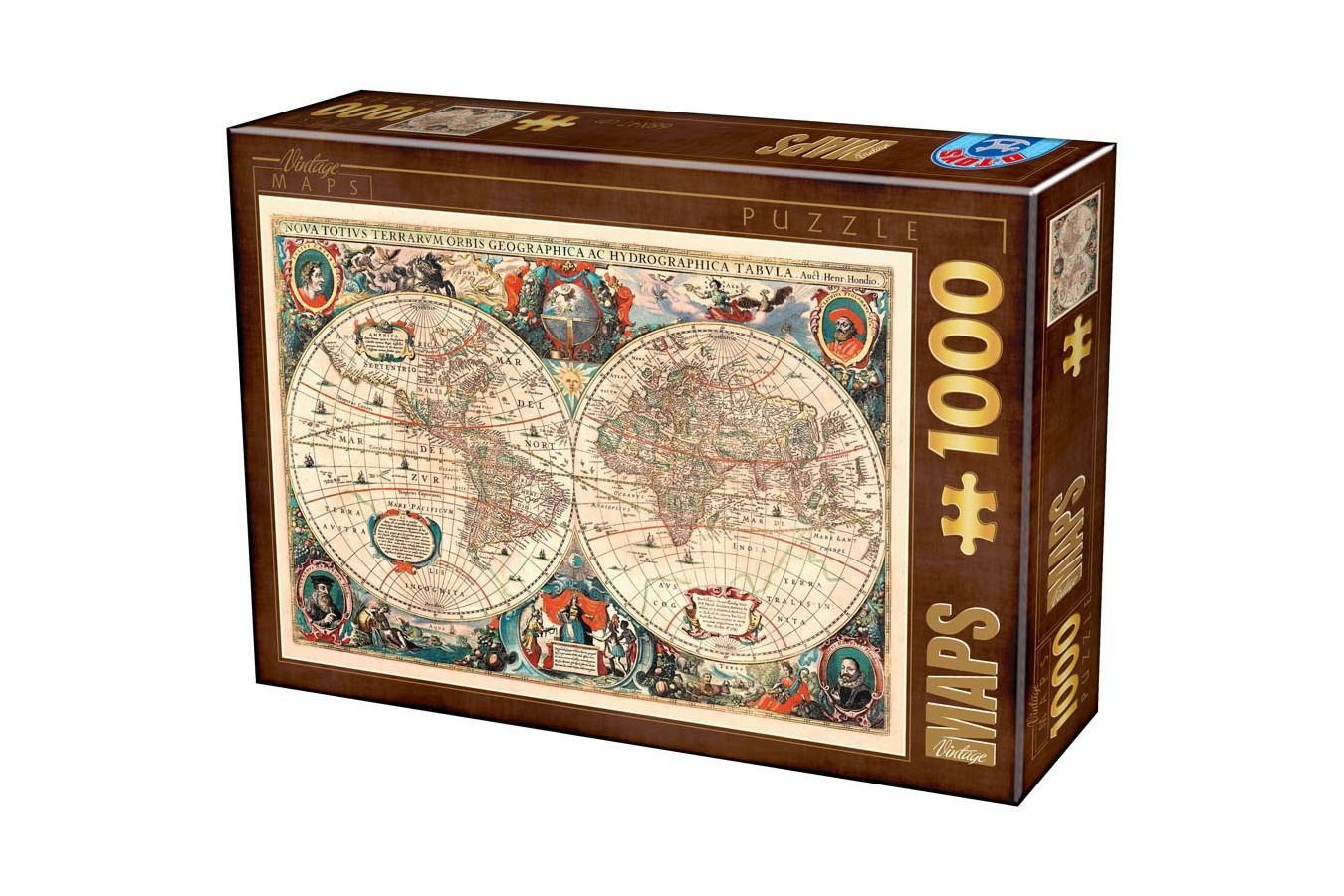 Puzzle D-Toys - Antique World Map, 1.000 piese (Dtoys-75710) imagine
