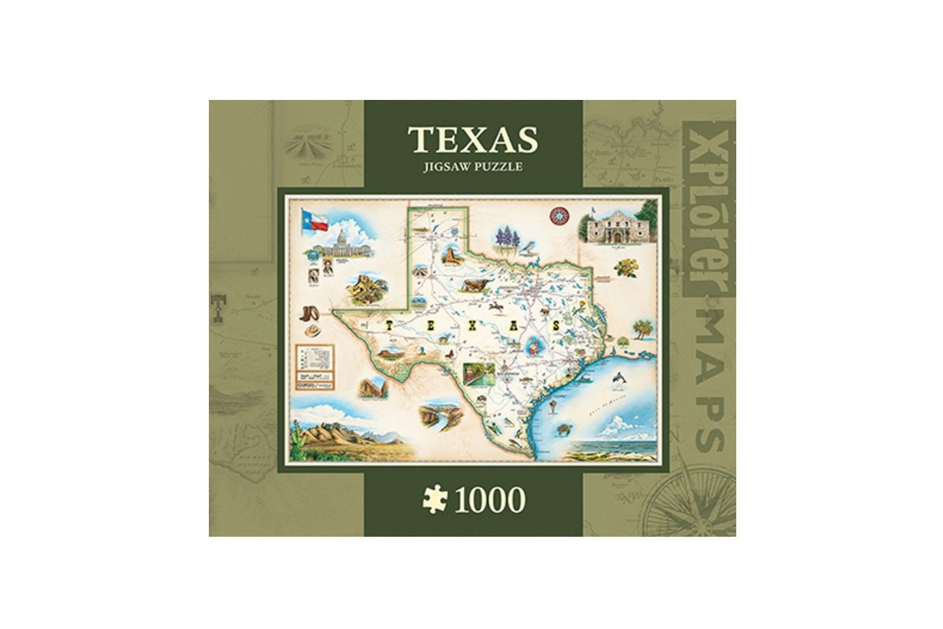 Puzzle Master Pieces - Xplorer Maps - Texas, 1.000 piese (Master-Pieces-71711) imagine