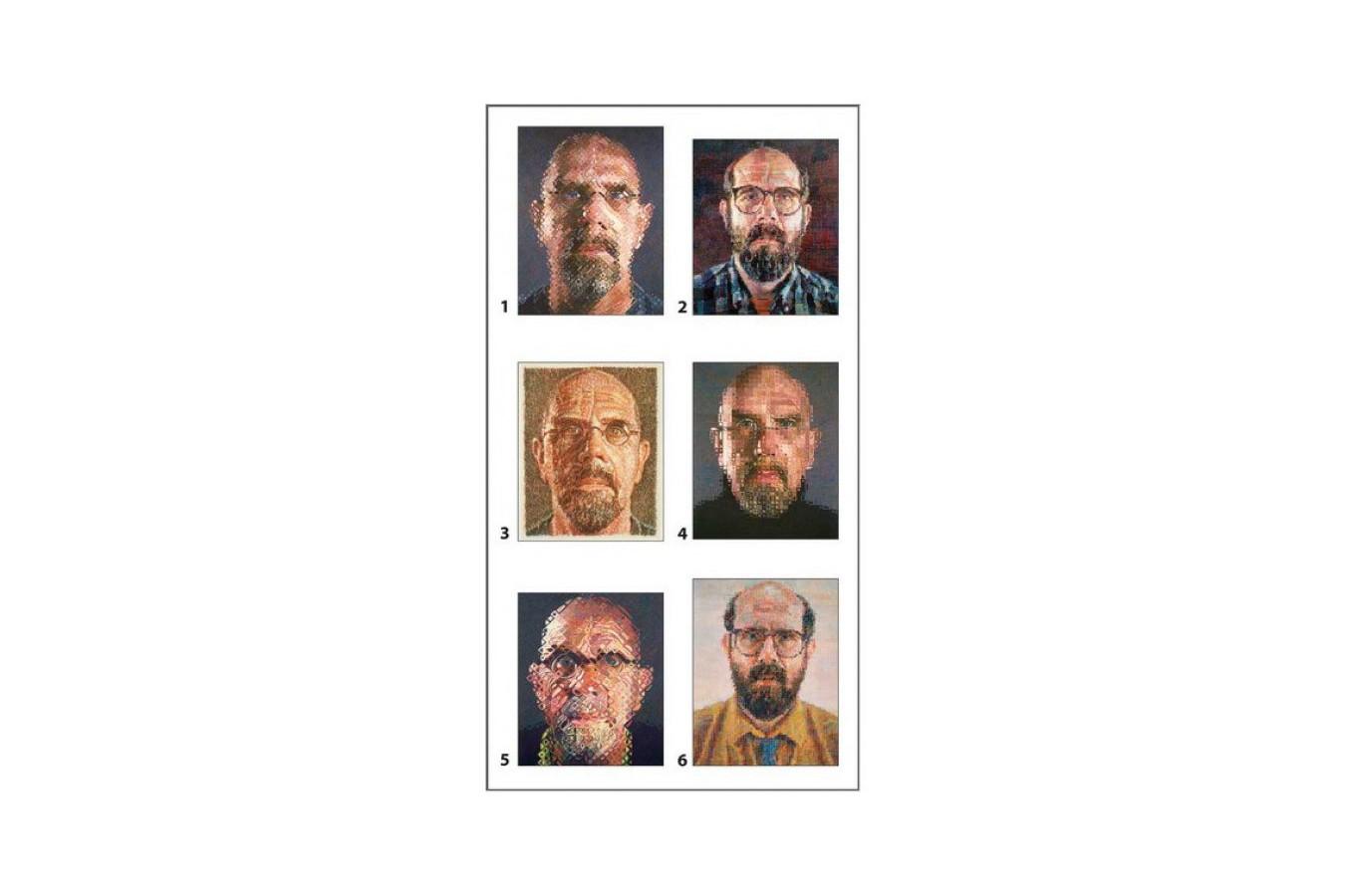 Puzzle cuburi Pomegranate - Chuck Close: 12 cubes for six self-portraits, 12 piese (PB003) imagine