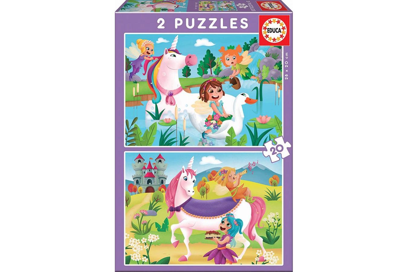 Puzzle Educa - Unicorns, 2x20 piese (18064) imagine