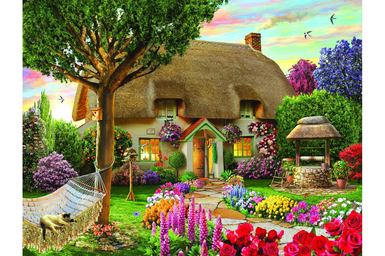 Puzzle SunsOut - Wishing Well Cottage, 1.000 piese (Sunsout-48624) imagine