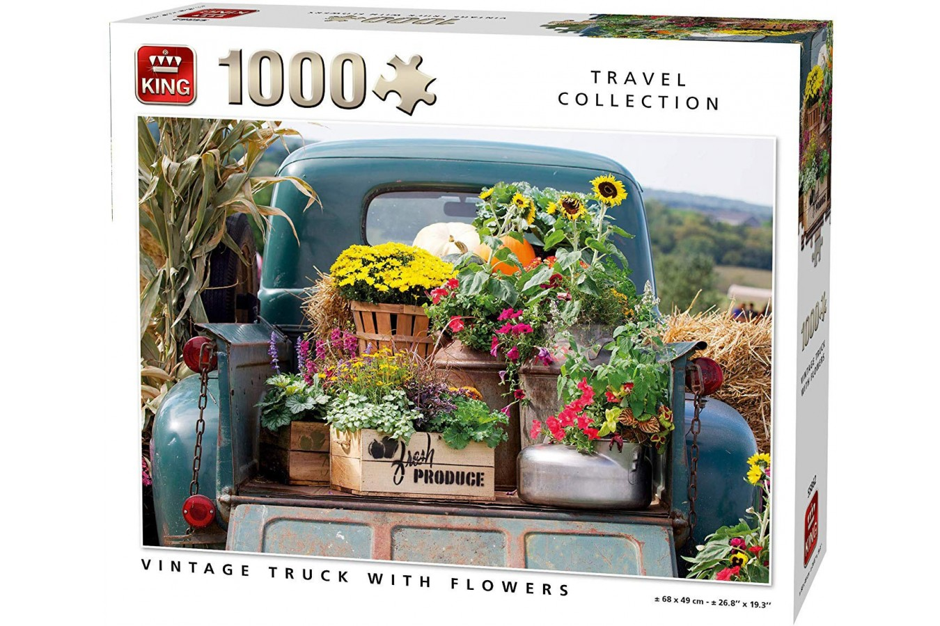 Puzzle King - Vintage Truck with Flowers, 1.000 piese (55862) imagine