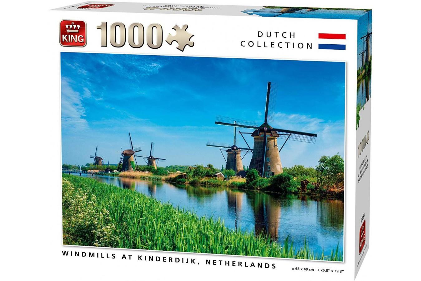 Puzzle King - Windmills Kinderdijk Netherlands, 1.000 piese (55885) imagine