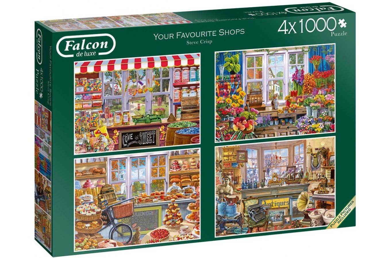 Puzzle Falcon - Steve Crisp: Favourite Shops, 4x1.000 piese (Jumbo-11249) imagine
