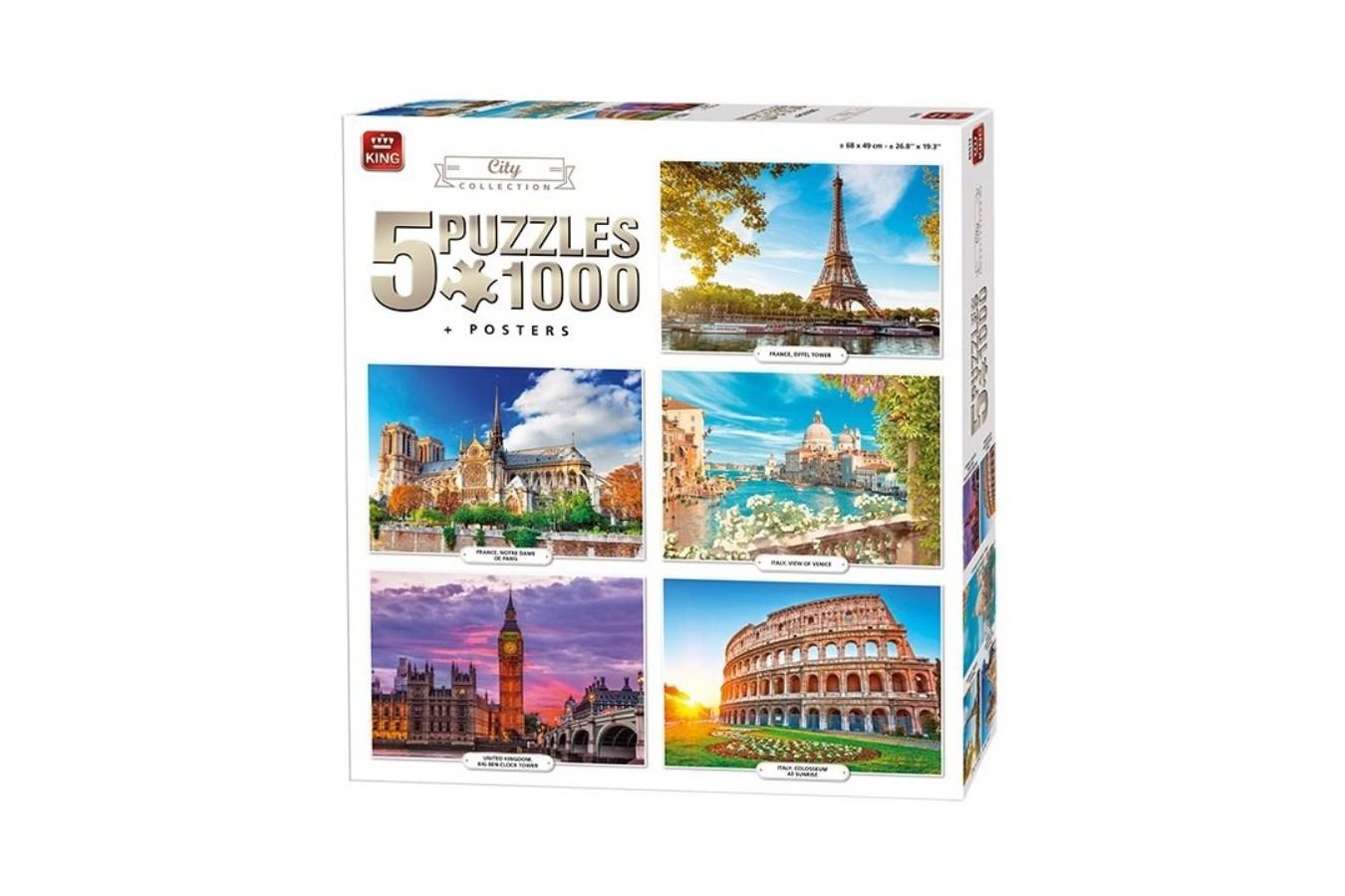 Puzzle King International - 5 Puzzles - City Collection, 5x1.000 piese (King-Puzzle-85513) imagine