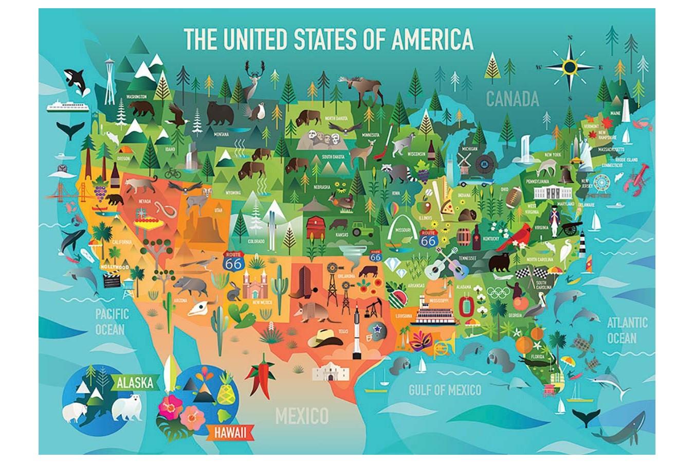 Puzzle Cobble Hill - The United States of America, 350 piese XXL (Cobble-Hill-54622) imagine