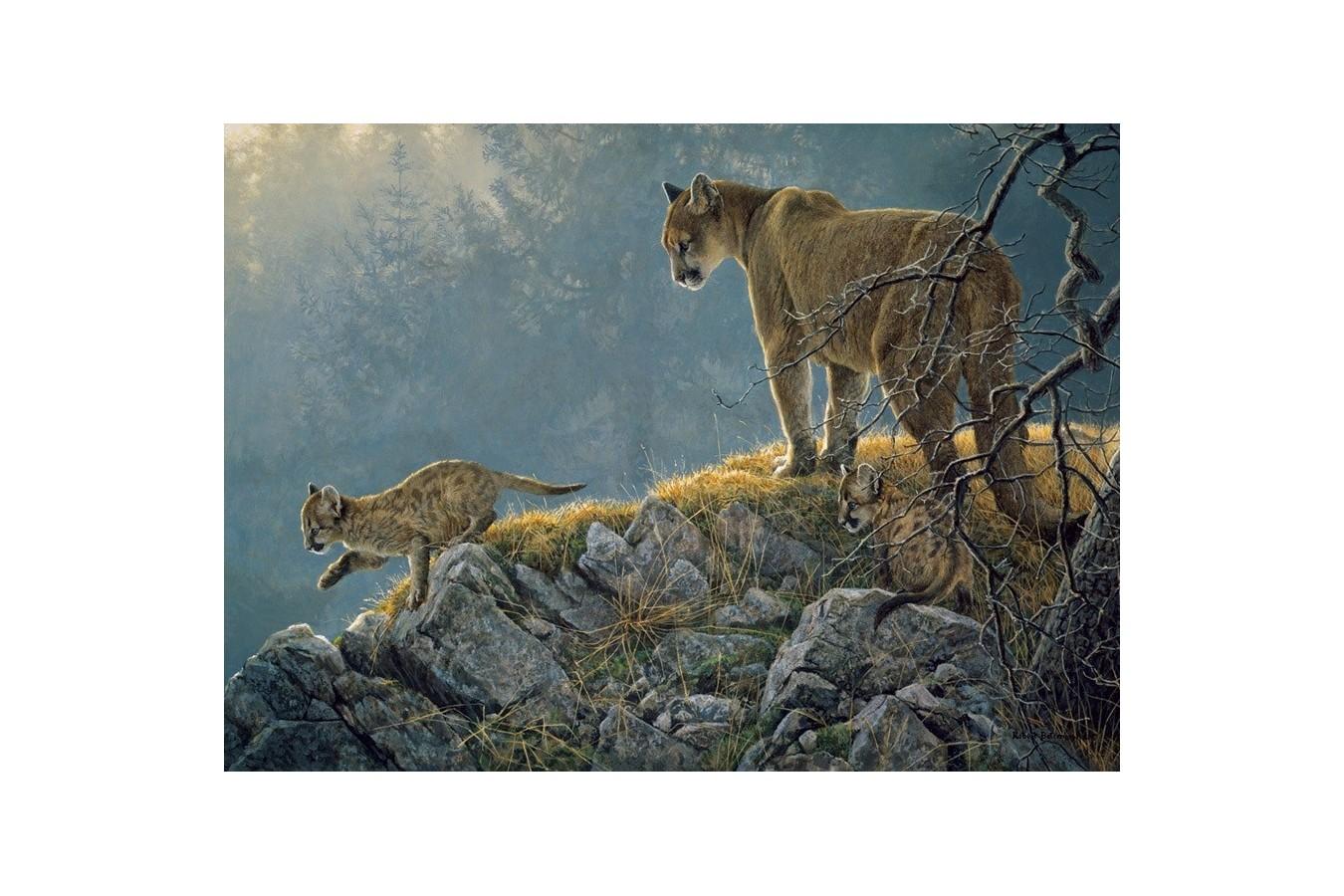 Puzzle Cobble Hill - Excursion: Cougar and Kits, 350 piese XXL (Cobble-Hill-54635) imagine