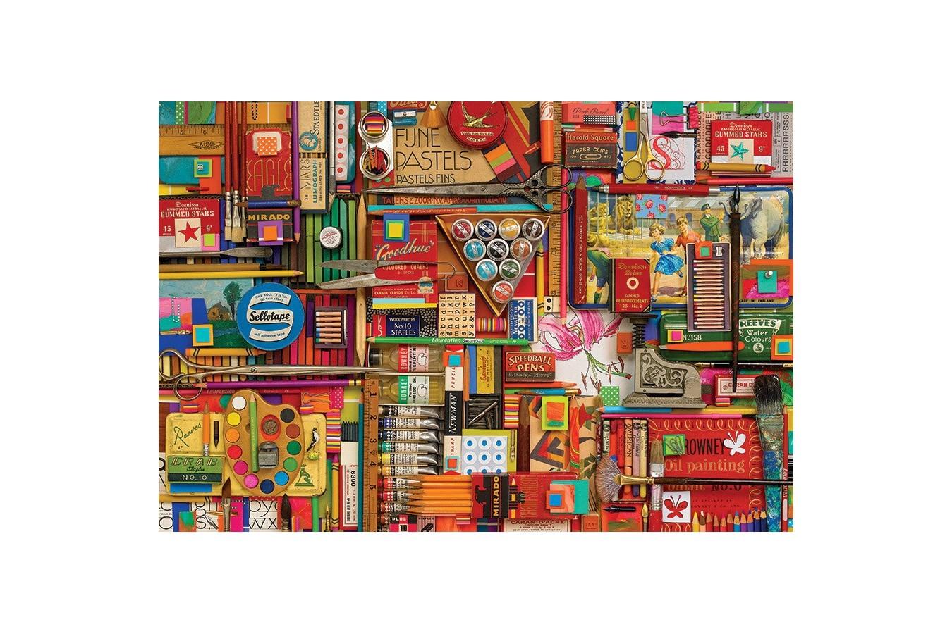Puzzle Cobble Hill - Vintage Art Supplies, 2.000 piese (Cobble-Hill-89009) imagine