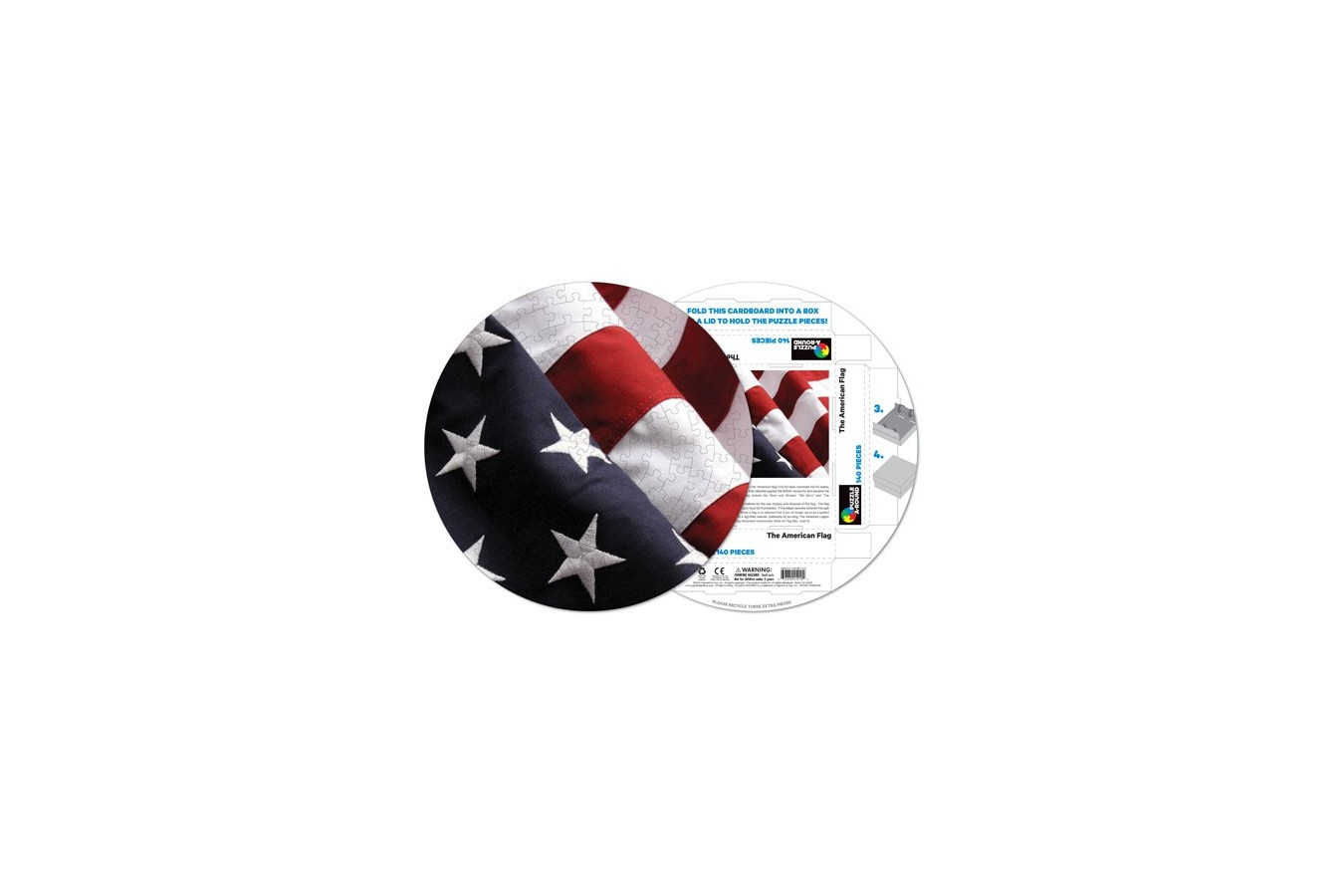 Puzzle rotund Pigmen & Hue - American Flag, 140 piese (Pigment-and-Hue-RFLAG-41210) imagine