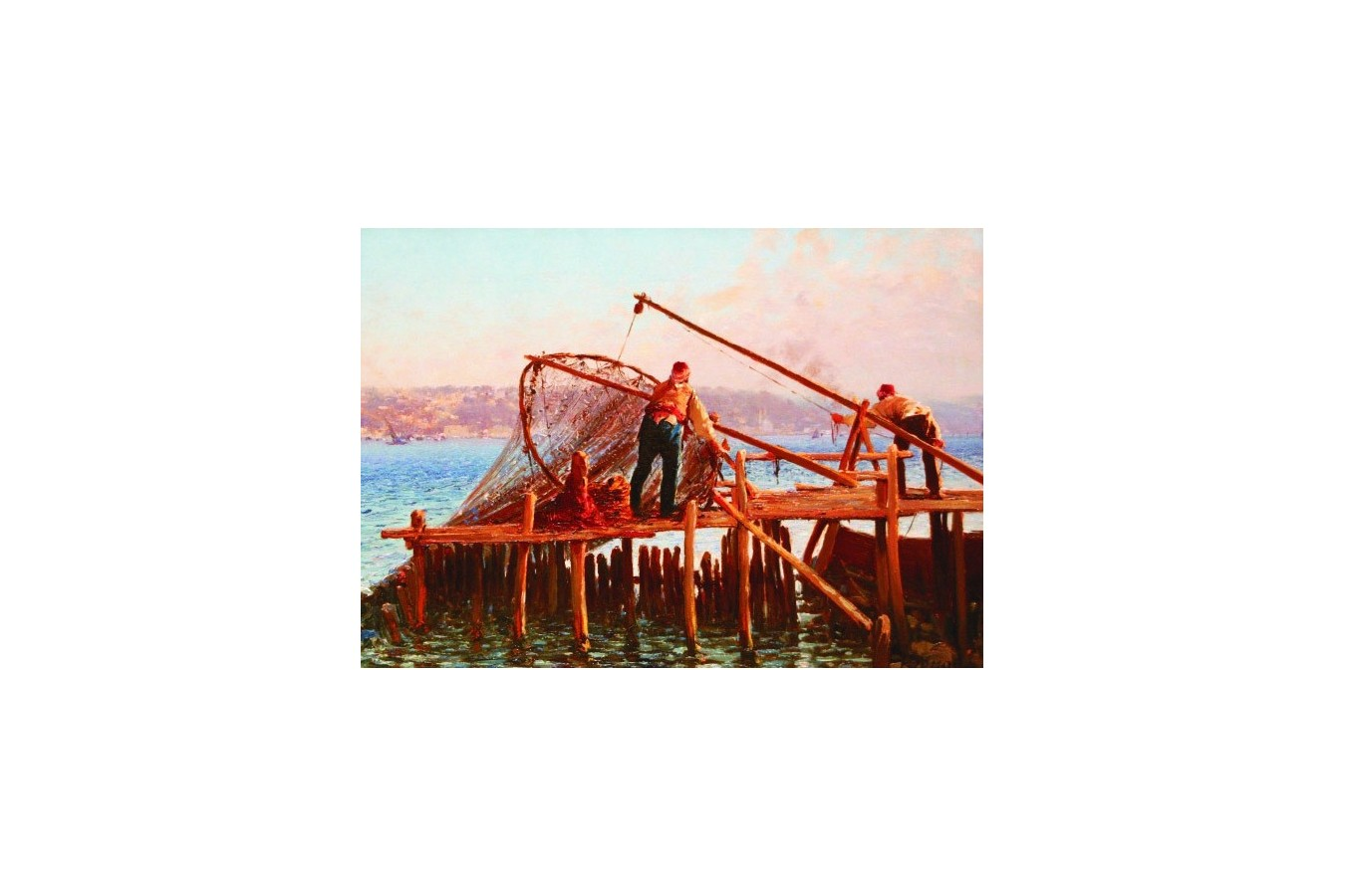 Puzzle Gold Puzzle - Fausto Zonaro: Fishermen Bringing in the Catch, 1.000 piese (Gold-Puzzle-60829)