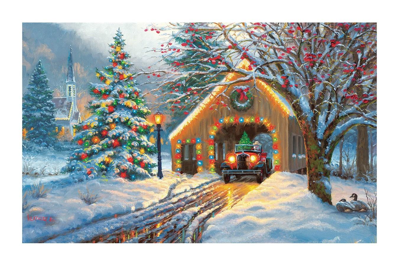 Puzzle SunsOut - Covered Bridge at Christmas, 300 piese (Sunsout-53015) imagine