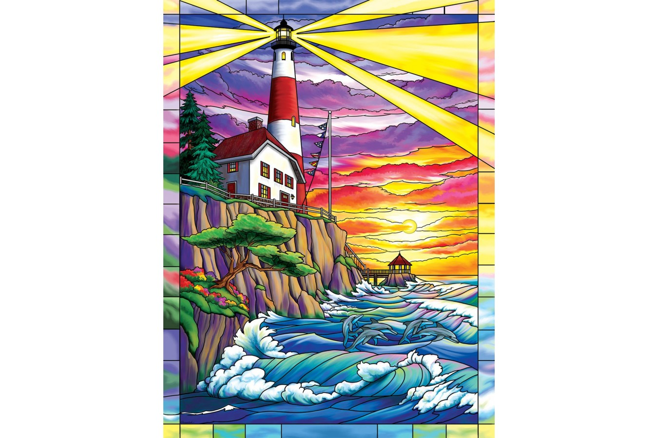 Puzzle SunsOut - Dolphin Bay Lighthouse, 300 piese (Sunsout-62914) imagine