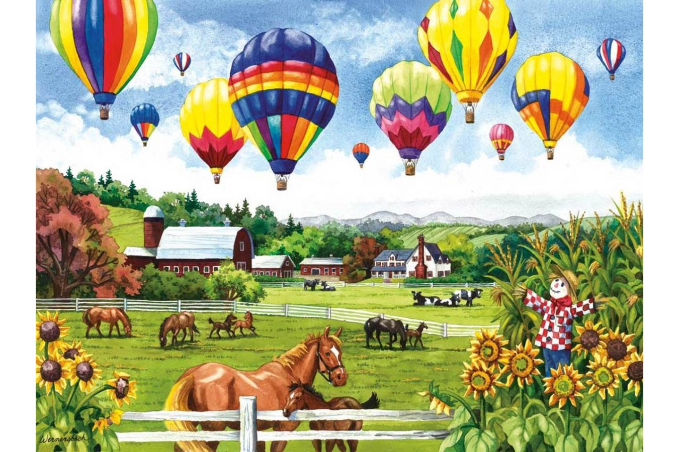 Puzzle SunsOut - Balloons over Fields, 500 piese (Sunsout-62967) imagine
