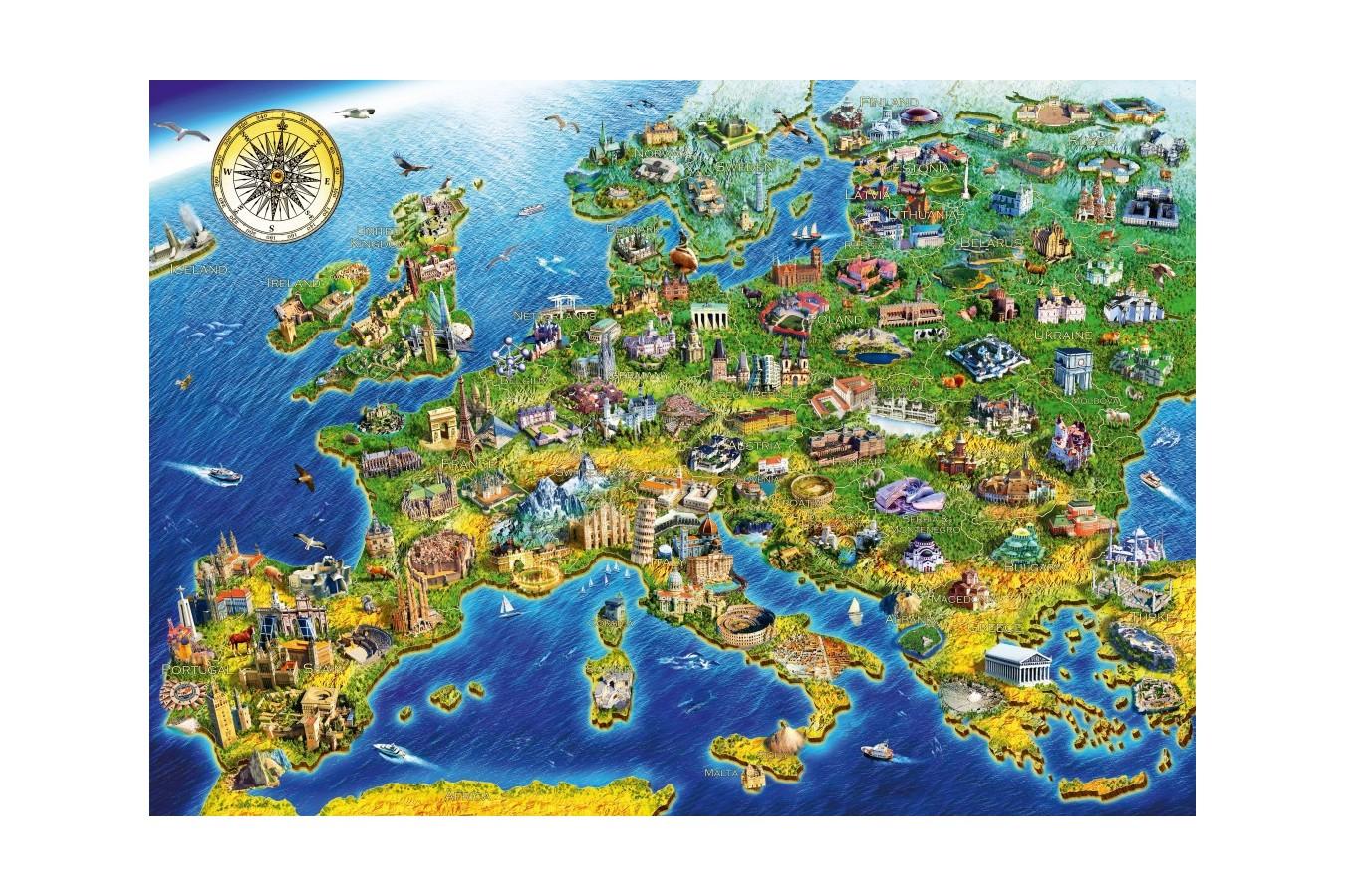 Puzzle Bluebird - Adrian Chesterman: European Landmarks, 1.000 piese (70322-P) imagine