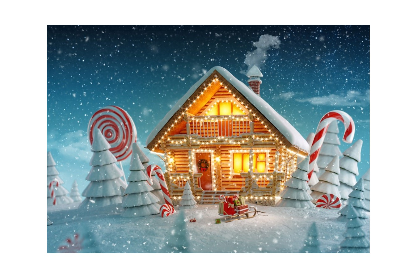 Puzzle Bluebird - Christmas Cottage, 500 piese (70365) imagine