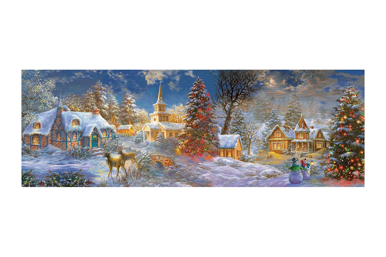 Puzzle panoramic SunsOut - The Stillness of Christmas, 500 piese XXL (Sunsout-19295) imagine