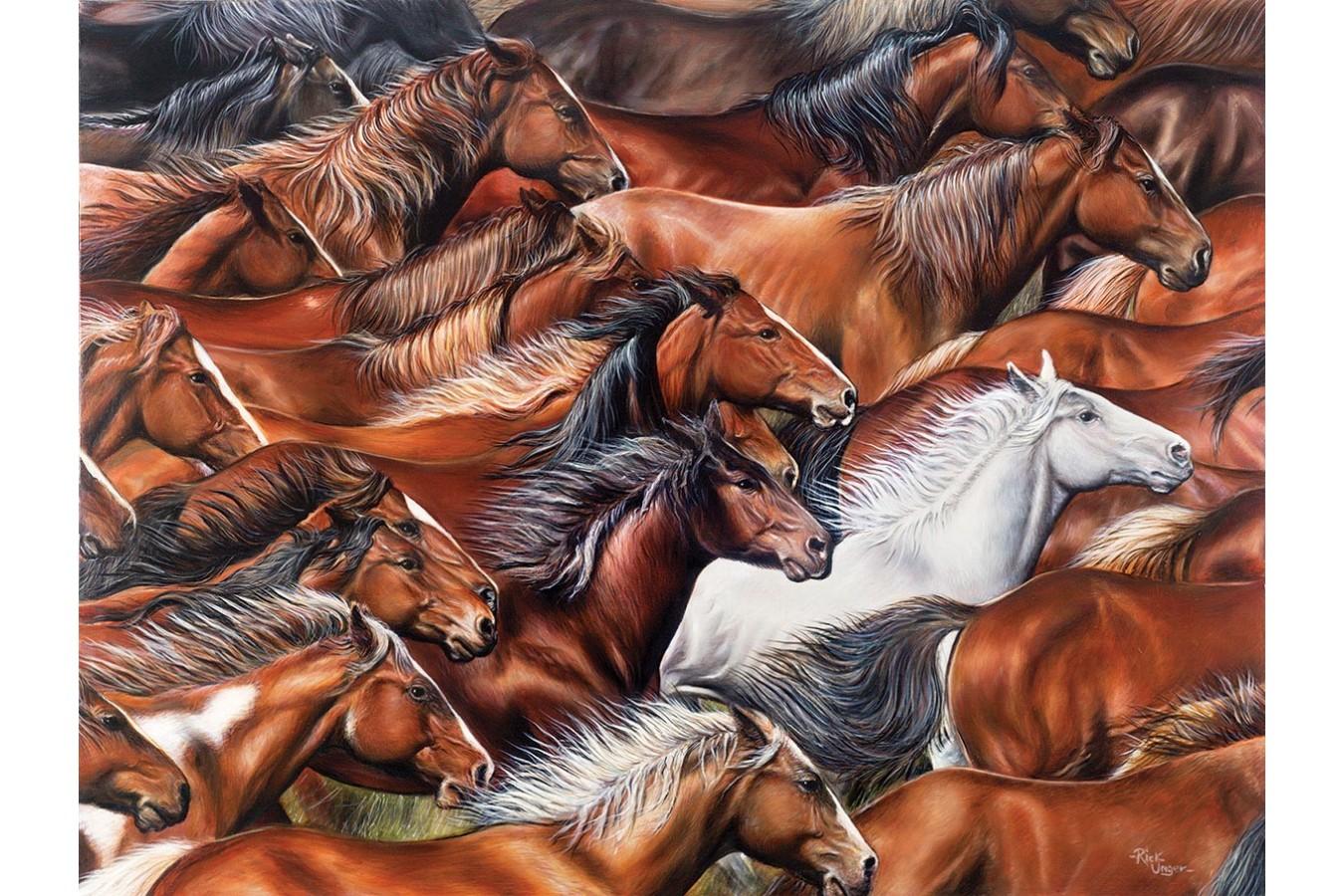 Puzzle SunsOut - Horse of a Different Color, 500 piese XXL (Sunsout-35310) imagine
