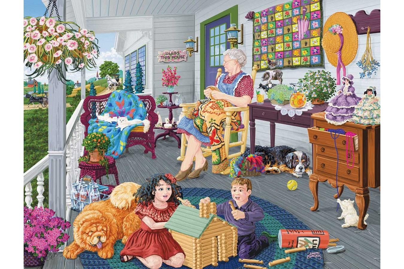 Puzzle SunsOut - Visiting Grandma, 300 piese XXL (Sunsout-38909) imagine