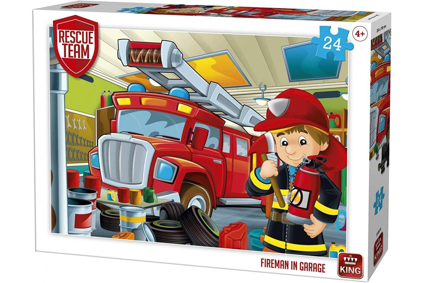 Puzzle King International - Rescue Team - Fireman in Garage, 24 piese (55839) imagine