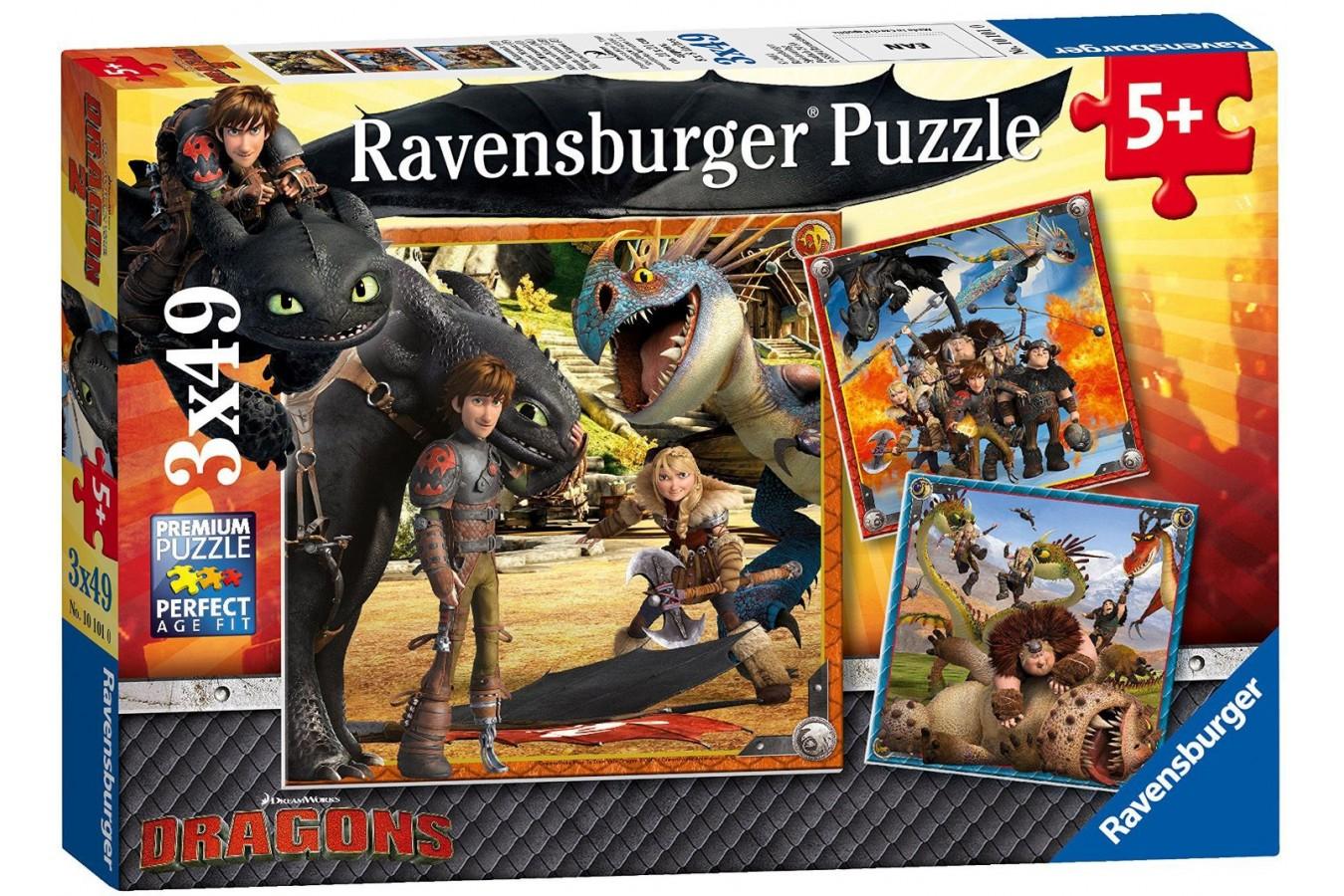 Puzzle Ravensburger - Dragons - Dragon Rider, 3x49 piese (09258) imagine