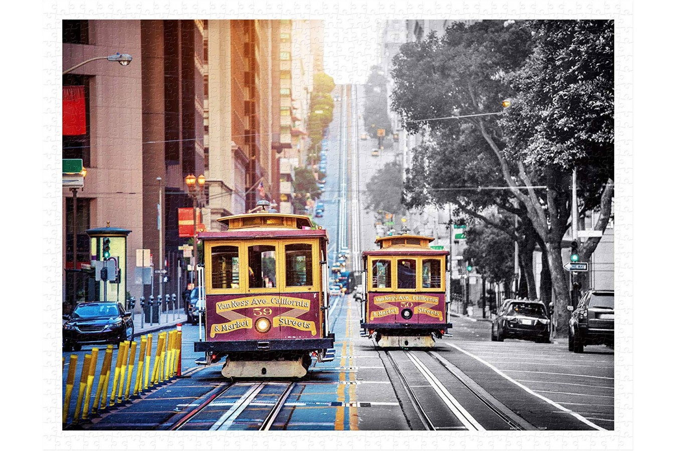 Puzzle din plastic Pintoo - Cable Cars on California Street, San Francisco, 1200 piese (H2044) imagine