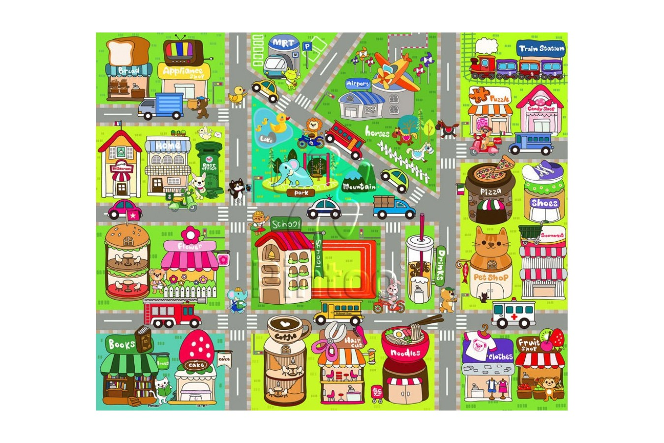 Puzzle din plastic Pintoo - Cute Street Map, 80 piese (T1015) imagine