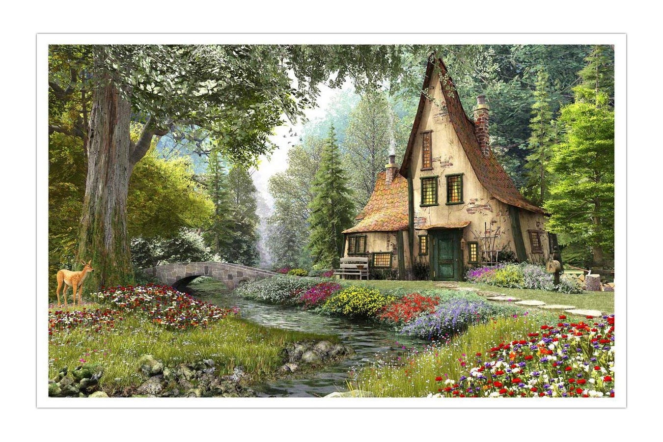Puzzle din plastic Pintoo - Dominic Davison: Toadstool Cottage, 4.000 piese (H1790) imagine