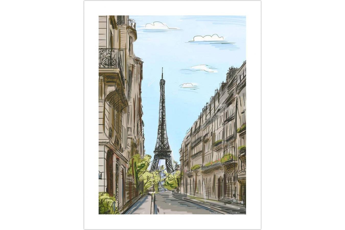 Puzzle din plastic Pintoo - Street in Paris, France, 300 piese (H1524) imagine
