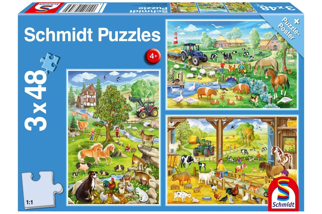 Puzzle Schmidt - Bauernhof, 3x48 piese (56353) imagine