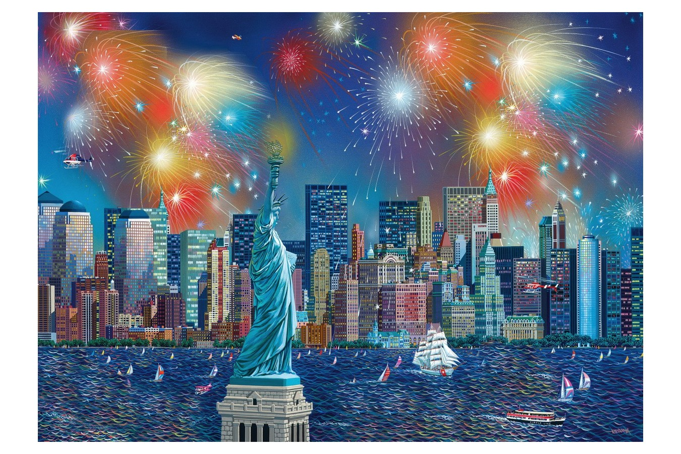 Puzzle Schmidt - Alexander Chen: Statue Of Liberty With Fireworks, 1.000 piese (59649) imagine