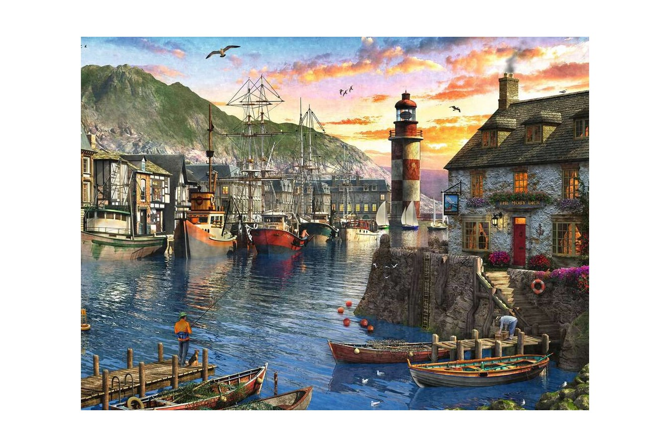 Puzzle Ravensburger - Sunrise at the Port, 500 piese (15045) imagine