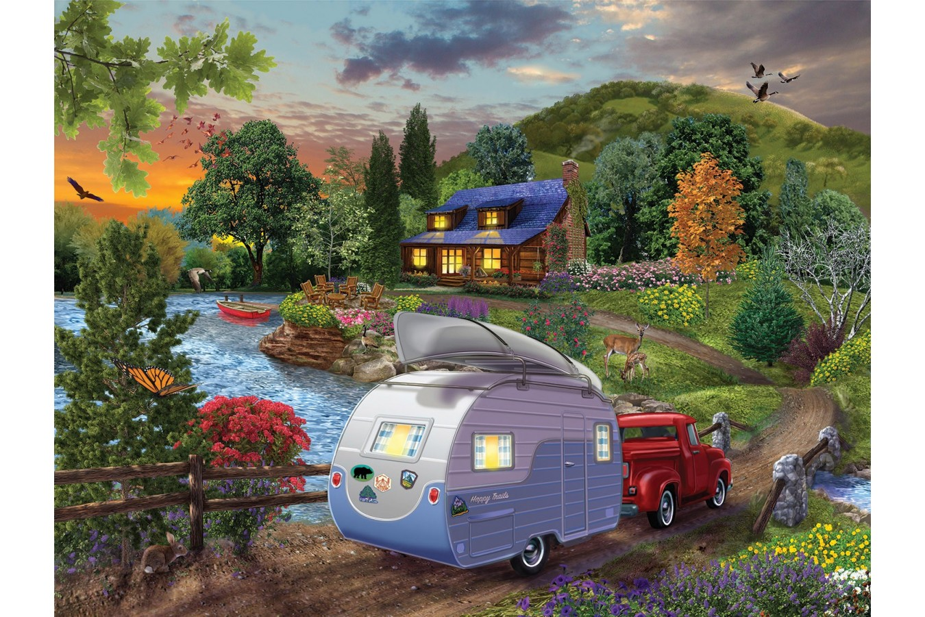 Puzzle SunsOut - Campers Coming Home, 300 piese XXL (Sunsout-31430) imagine