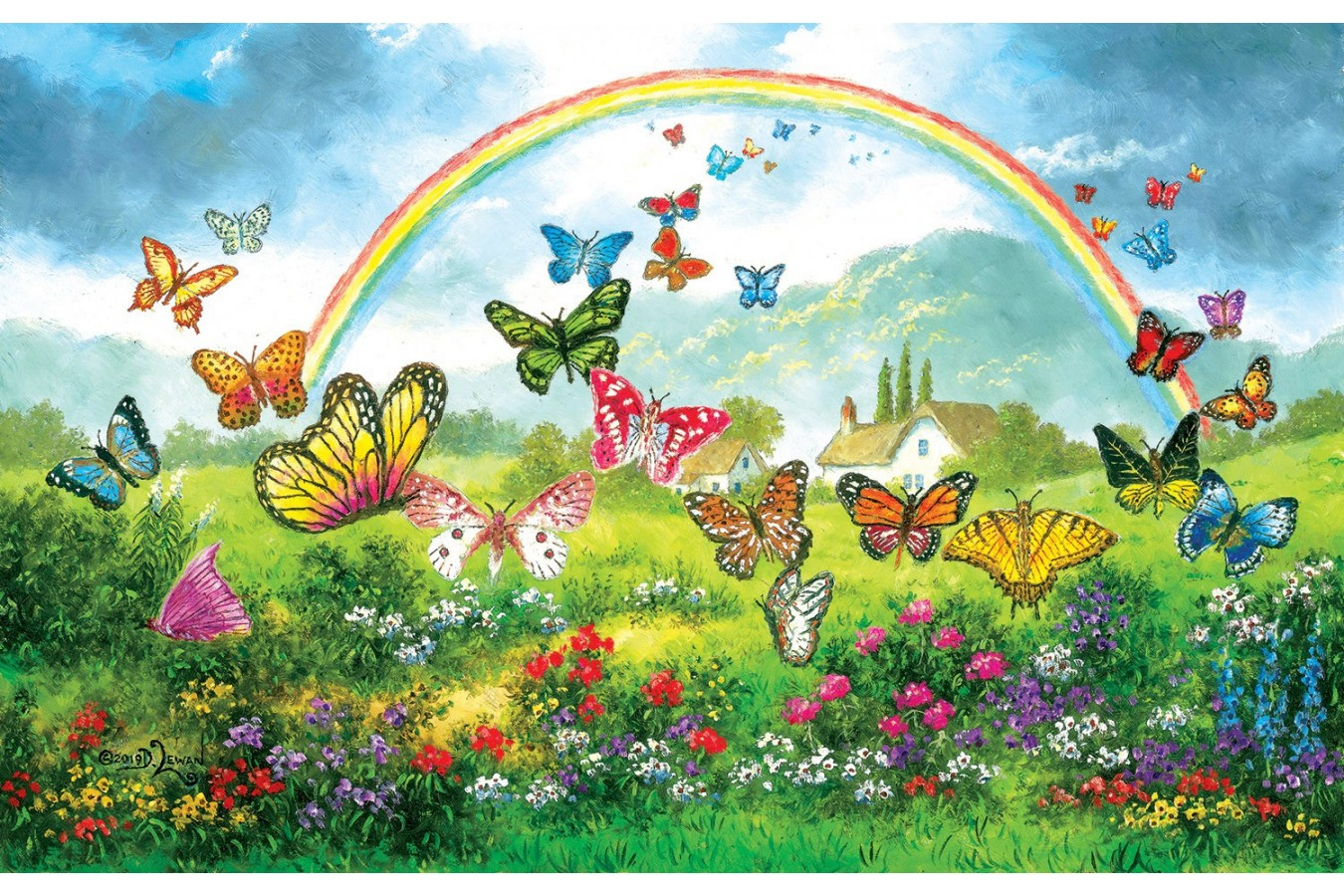 Puzzle SunsOut - Dennis Lewan: Butterfly Holiday, 550 piese (Sunsout-48317) imagine