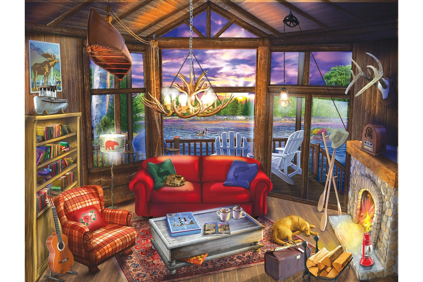 Puzzle SunsOut - Evening at the Cabin, 300 piese XXL (Sunsout-31425) imagine