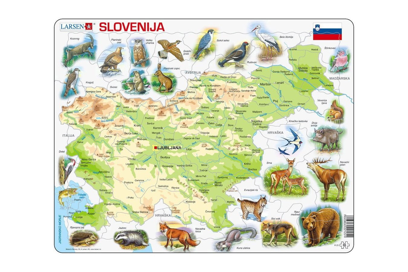 Puzzle Larsen - Physical Map of Slovenia, 65 piese (K25-SI) imagine