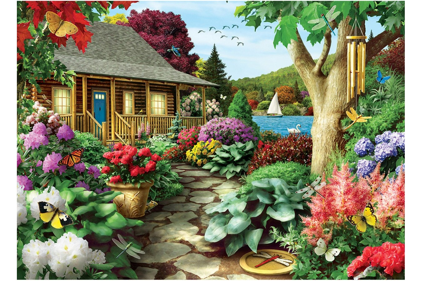 Puzzle Master Pieces - Dragonfly Garden, 1.000 piese (Master-Pieces-71810) imagine