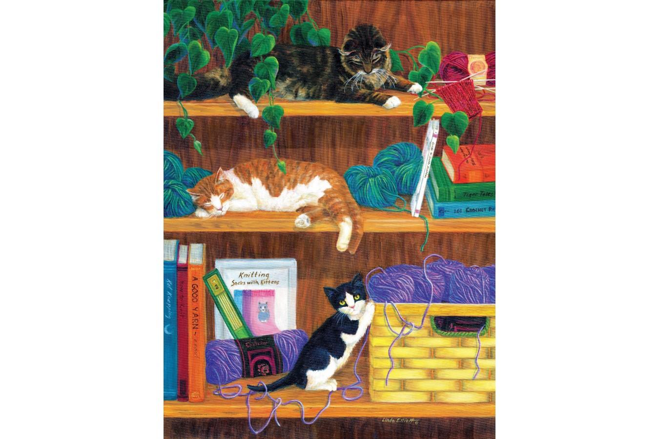 Puzzle SunsOut - Linda Elliott: A good Yarn, 500 piese (Sunsout-31631) imagine