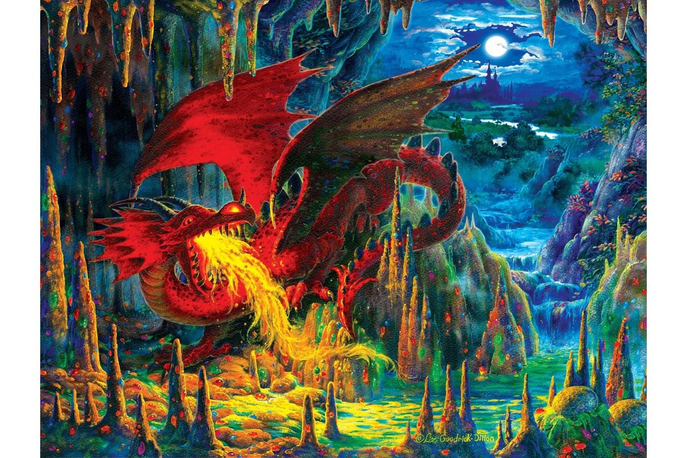 Puzzle SunsOut - Liz Goodrich Dillon: Fire Dragon of Emerald, 500 piese (Sunsout-59775) imagine