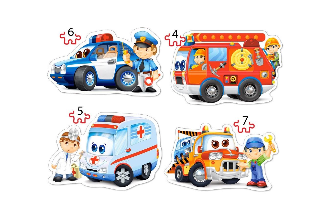 Puzzle Castorland 4 in 1 - Rescue Services, 4/5/6/7 Piese imagine