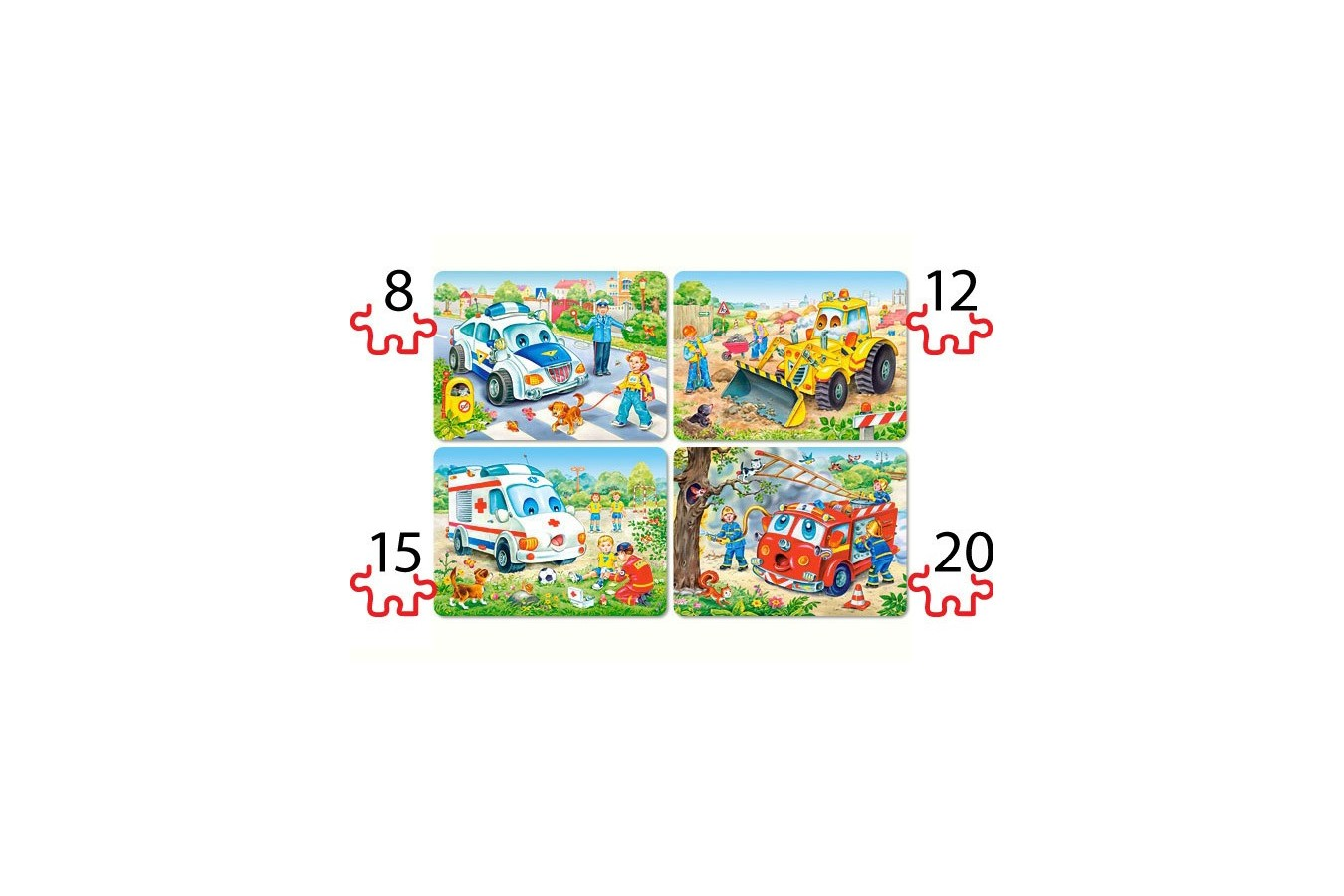 Puzzle Castorland - 4 in 1 Funny Vehicles, 8/12/15/20 piese imagine