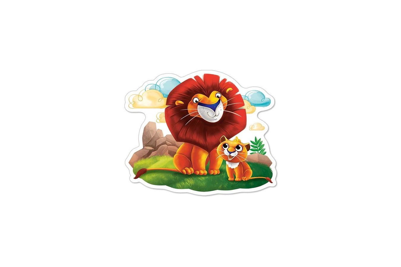 Puzzle Castorland - Lion cub and his dad, 12 piese MAXI imagine