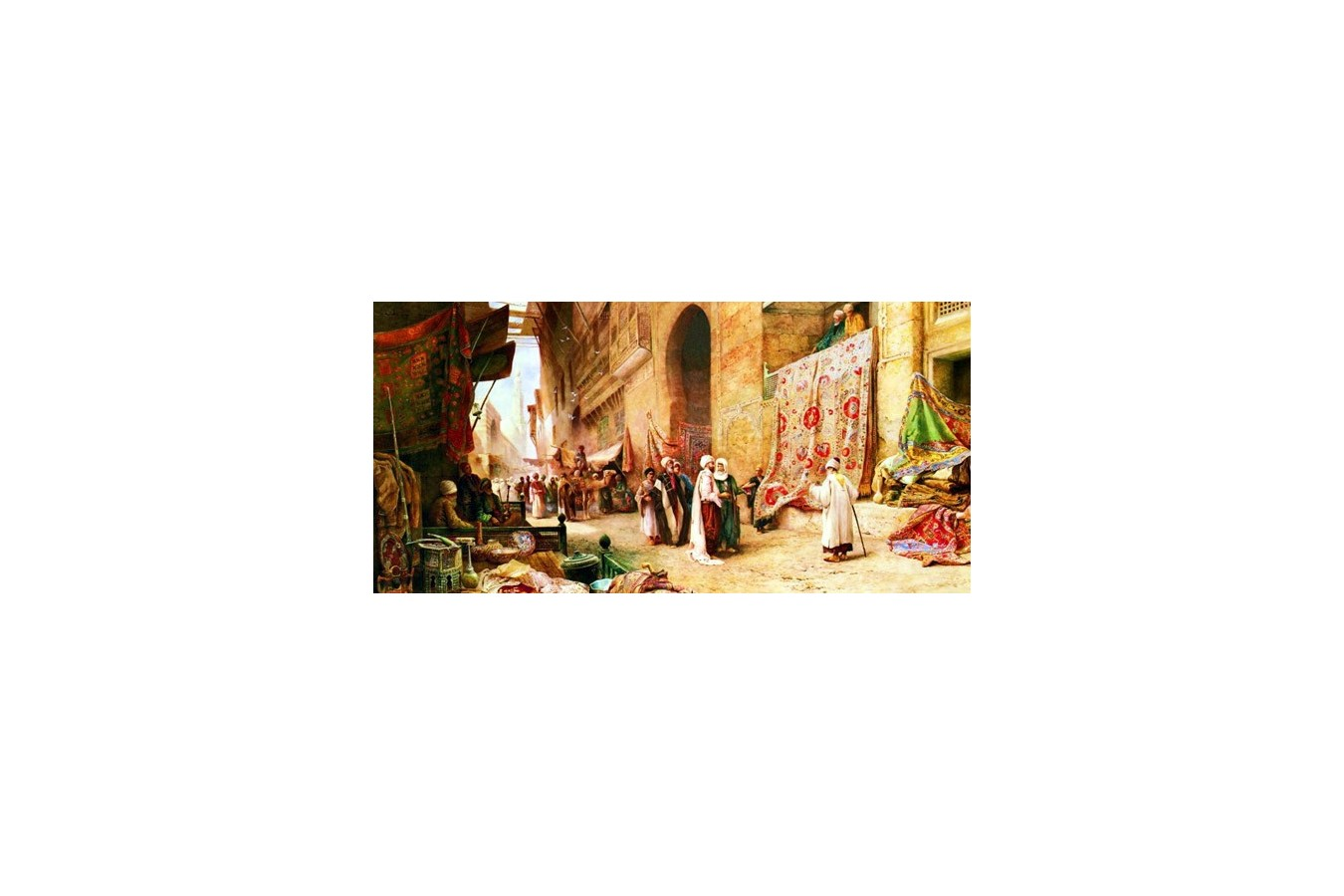 Puzzle Anatolian - A Carpet Sale In Cairo, 1500 piese, panoramic (3751) imagine