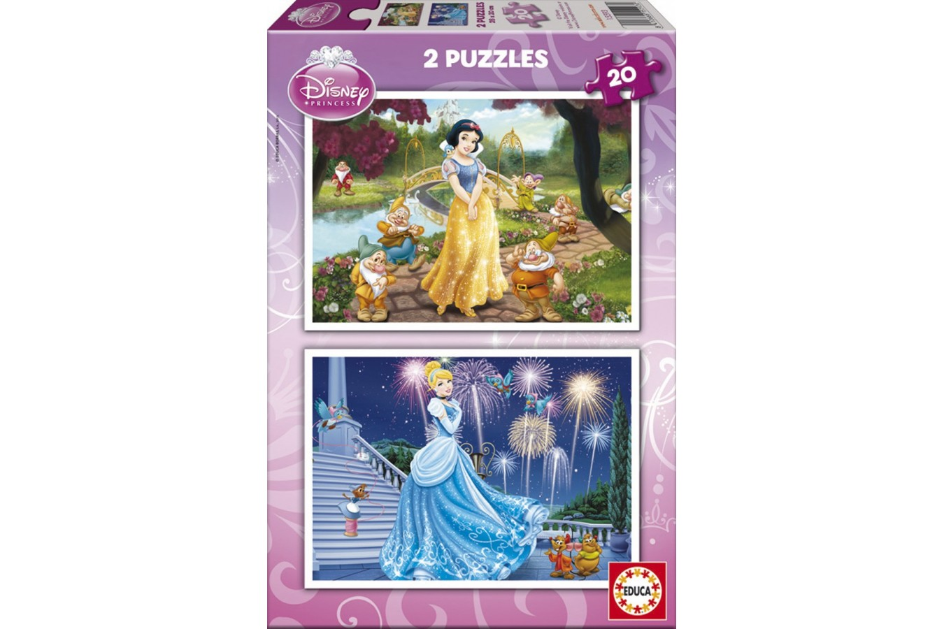 Puzzle Educa - Disney Princesses: Snow-White and Cinderella, 2x20 piese (15593) imagine