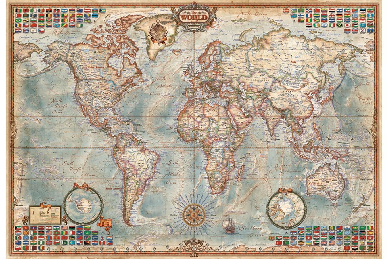 Puzzle mini Educa - Ancient World Map, 1000 piese, include lipici puzzle (16764) imagine